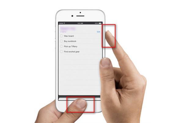 Captura de pantalla iPhone método 1
