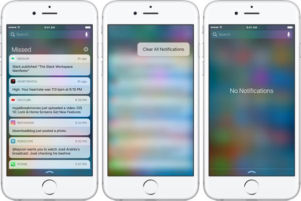 Novedades iOS 10 Centro de notificaciones