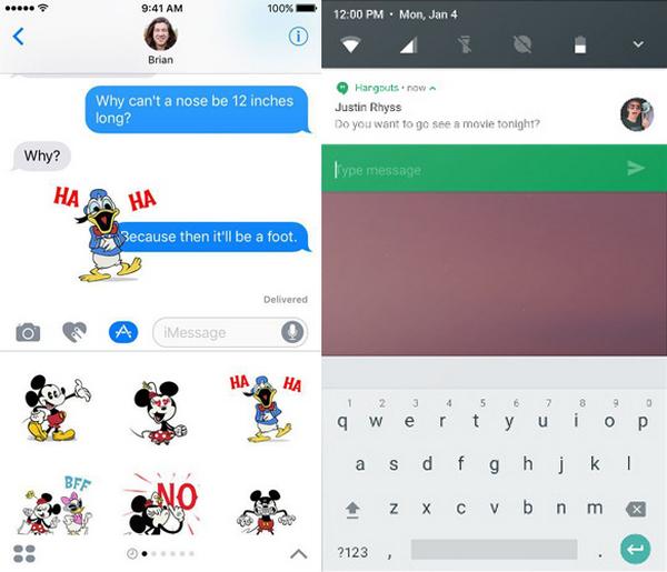 Comparación mensajes iOS 10 vs. Android N