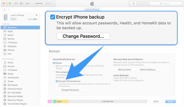 Contraseña copia de seguridad iTunes