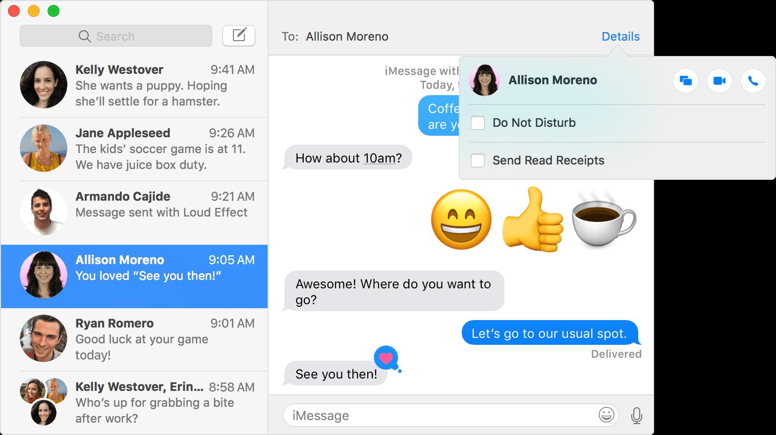 Conversaciones mensajes Mac