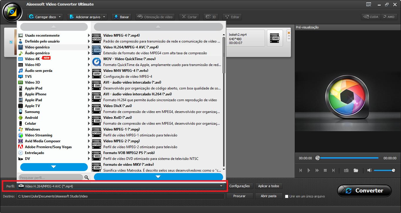 Seleccionar el perfil de conversión MPEG