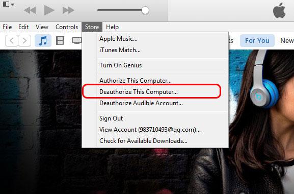 Desautorizar um computador iTunes