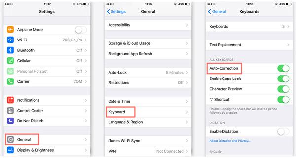 Desativar corretor automático iPhone