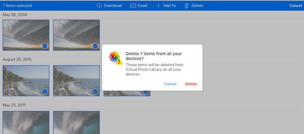 Eliminar fotos iCloud.com Paso 2