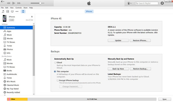 Fazer backup iPhone pelo iTunes
