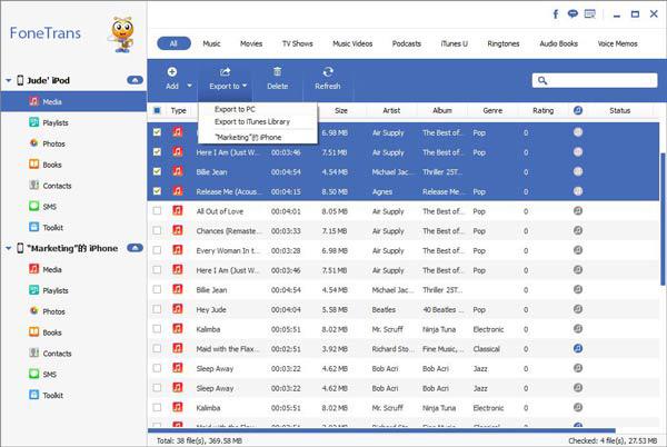 Gestionar archivos Aiseesoft FoneTrans paso 2