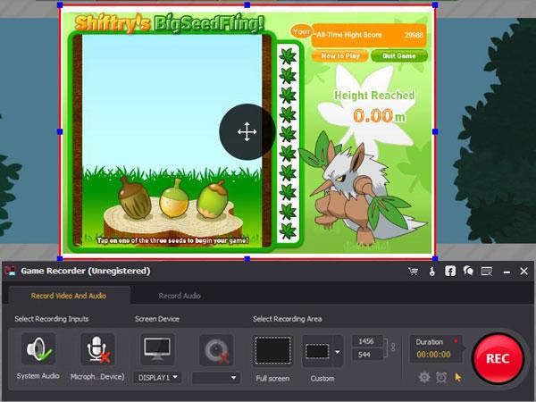 Grabar gameplay Pokemon Screen Recorder paso 3