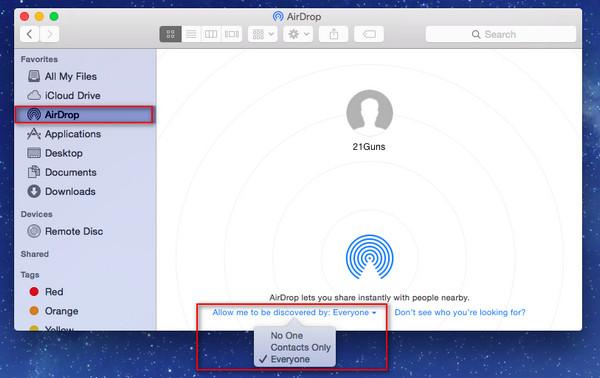 Activar AirDrop Mac transferir archivos