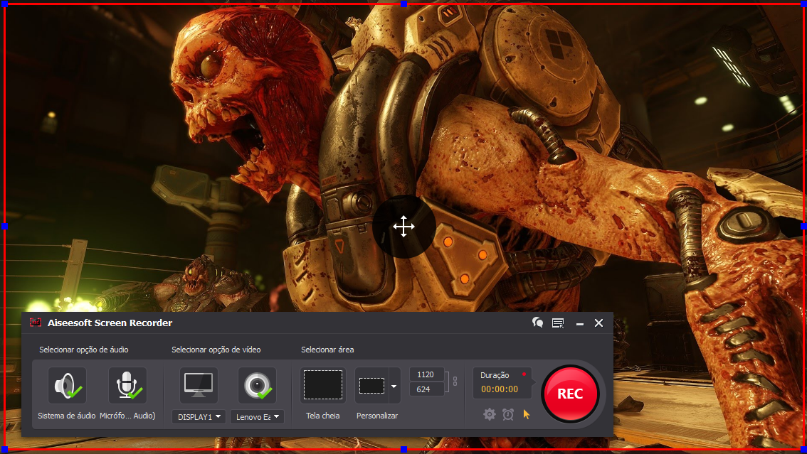 Abrir el Doom y hacer clic en el botón REC para comenzar a grabar