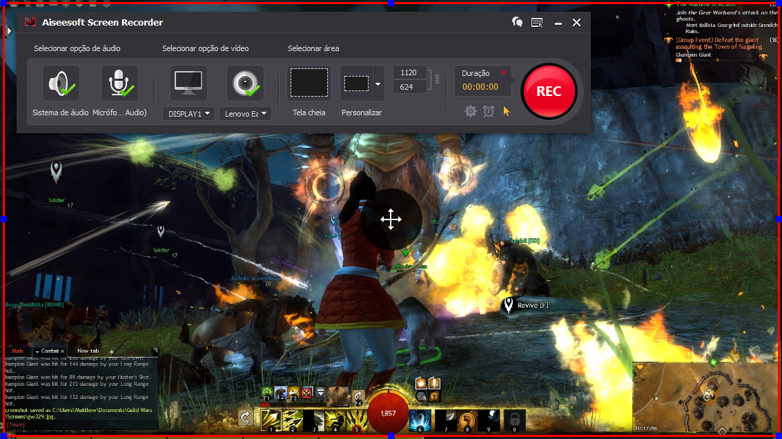 Abrir el Guild Wars 2 y hacer clic en el botón REC para comenzar a grabar
