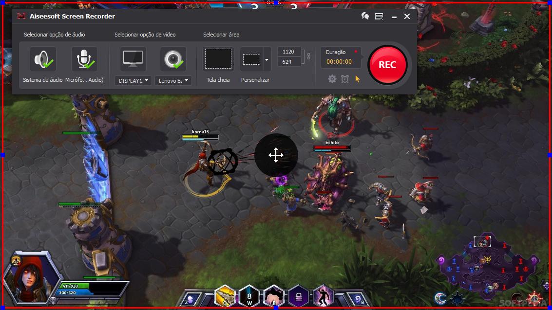 Abrir el Heroes of the Storm y hacer clic en el botón REC para comenzar a grabar