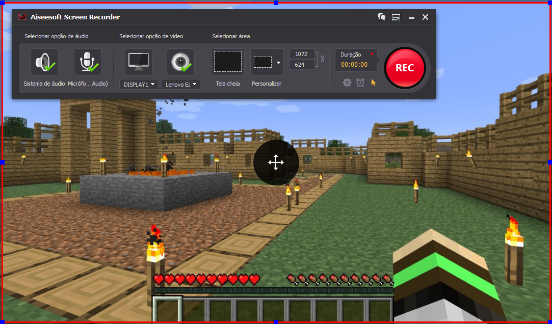 Abrir el Minecraft y hacer clic en el botón REC para comenzar a grabar