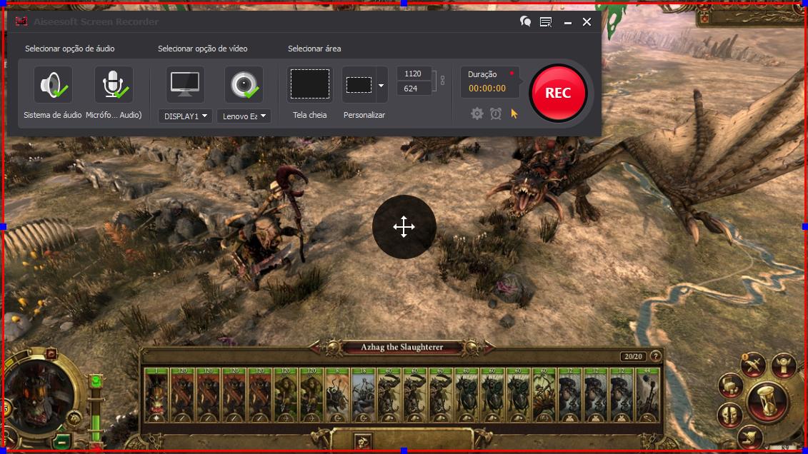 Abrir el Total War: Warhammer y hacer clic en el botón REC para comenzar a grabar