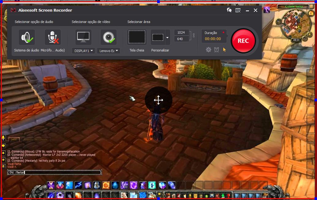 Abrir el World of Warcraft y hacer clic en el botón REC para comenzar a grabar
