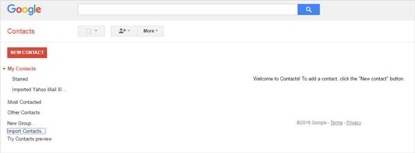 Importar contatos gmail passo 3