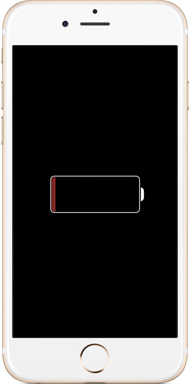 iPhone sin batería cargando