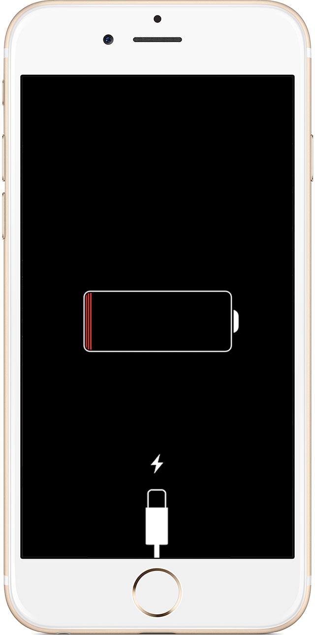 iPhone sin batería cargando conectado