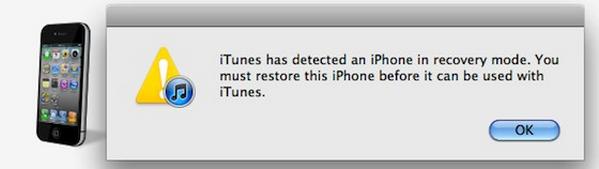 iPhone em modo recuperação
