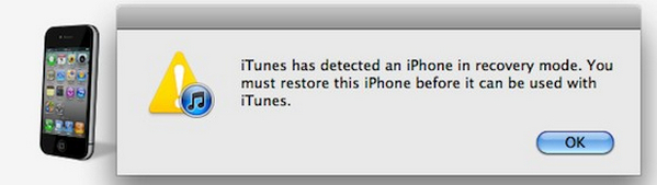 iPhone en modo recuperación