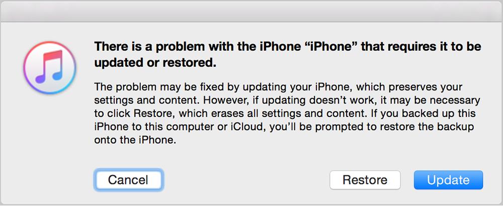iTunes restaurar atualizar iPhone