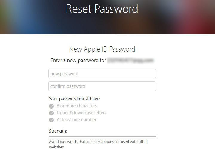 Olvidó contraseña ID Apple sitio paso 3