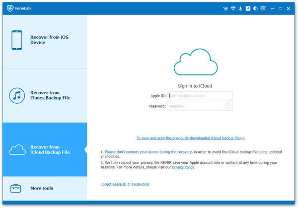 Restaurar copia de seguridad icloud Aiseesoft FoneLab paso 1
