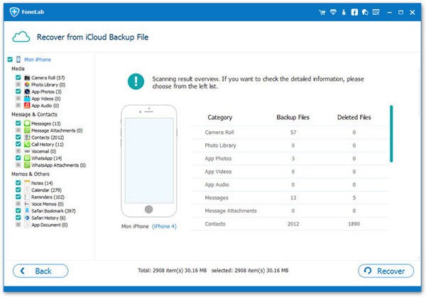 Restaurar copia de seguridad icloud Aiseesoft FoneLab paso 3