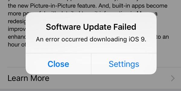 Problema falla descargar actualización iPhone