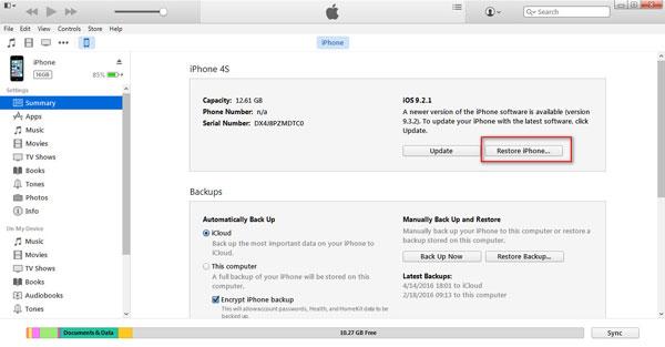 Resetar iPhone iTunes