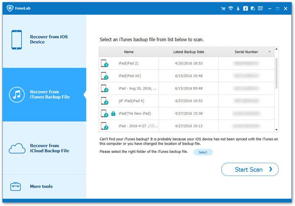 Restaurar copia de seguridad Aiseesoft FoneLab paso 2