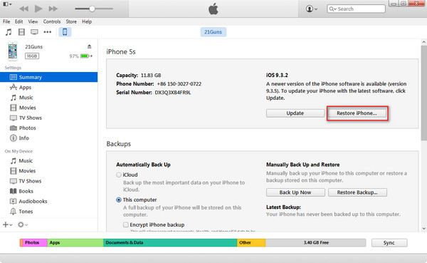Restaurar iPhone tela preta configurações fábrica