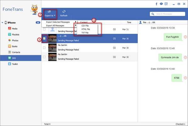 Restaurar mensagens iPhone Aiseesoft FoneTrans passo 3