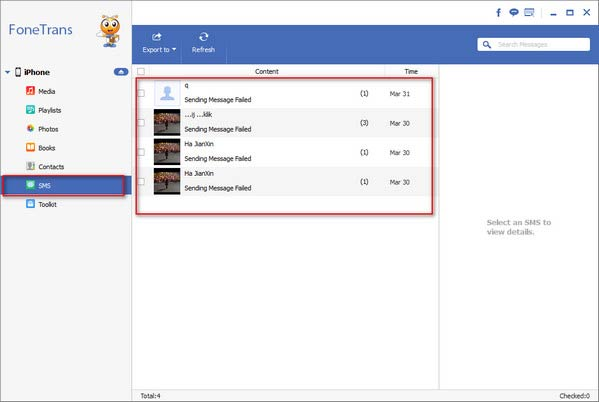 Restaurar mensajes iPhone Aiseesoft FoneTrans paso 2