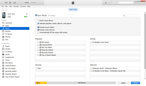Sincronizar músicas iTunes passo 5