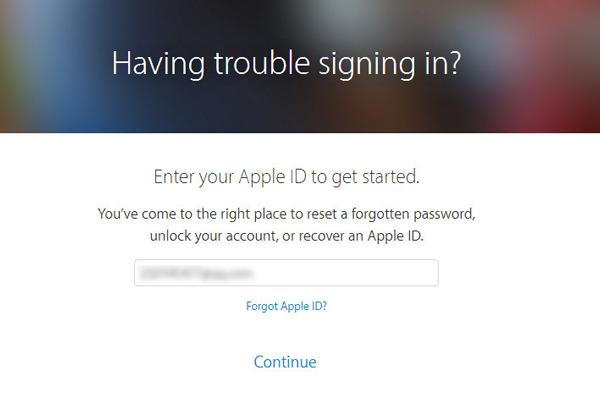 Tela recuperação senha página Apple