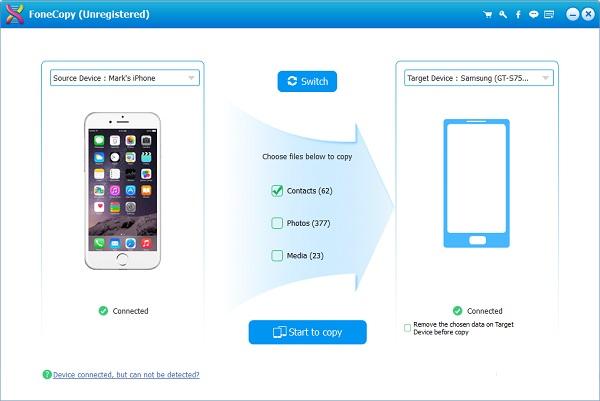Transferir contatos Aiseesoft FoneCopy passo 2