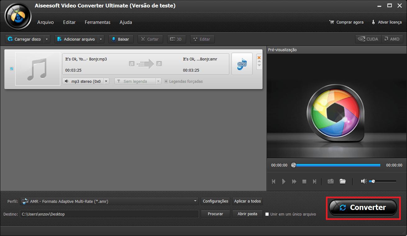 Inicie la conversión de sus archivos AMR a MP2