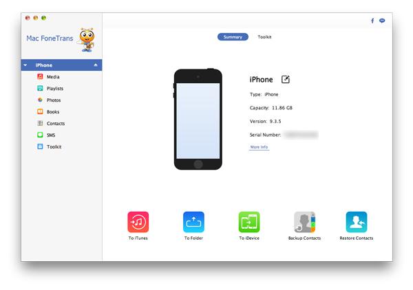 Juntar contatos duplicados iPhone Aiseesoft FoneTrans passo 1