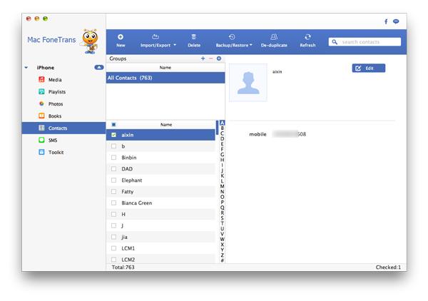 Juntar contatos duplicados iPhone Aiseesoft FoneTrans passo 2