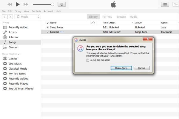 Deletar músicas iTunes várias opções