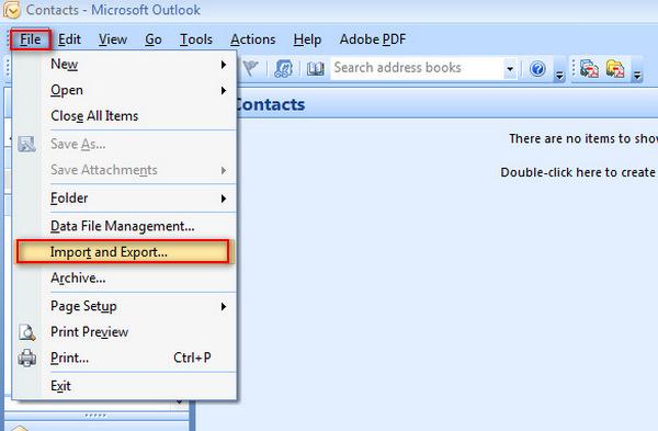 Exportar Outlook 2007 passo 1