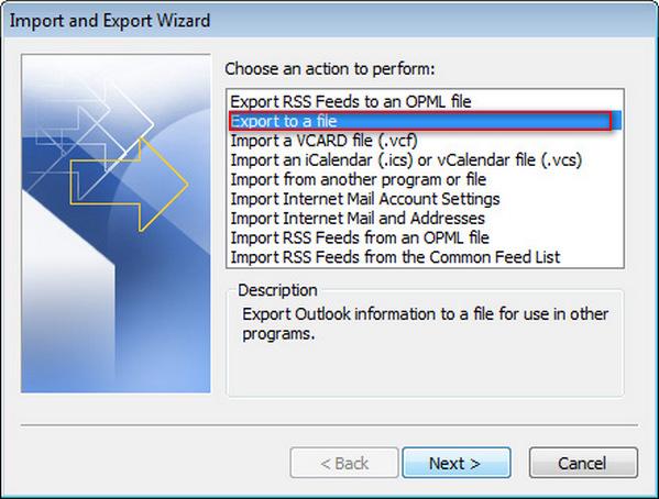 Exportar Outlook 2007 passo 2