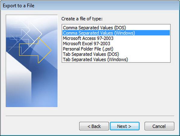 Exportar Outlook 2007 passo 3