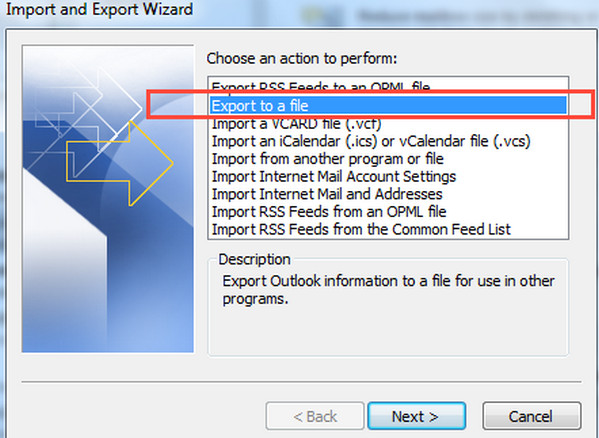 Exportar Outlook 2010 paso 3