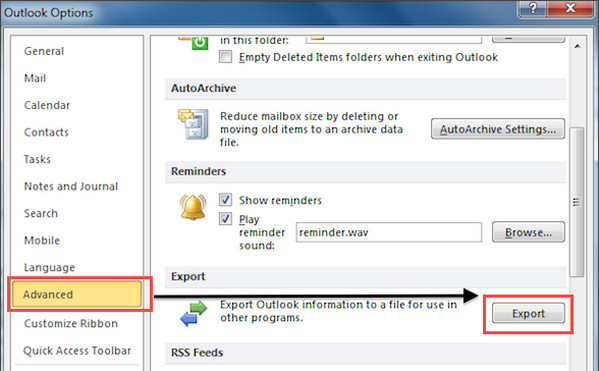 Exportar Outlook 2010 passo 2
