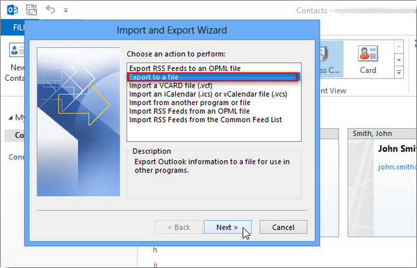 Exportar Outlook 2013 passo 4