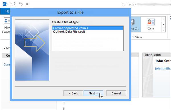 Exportar Outlook 2013 passo 5