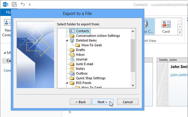 Exportar Outlook 2013 passo 6