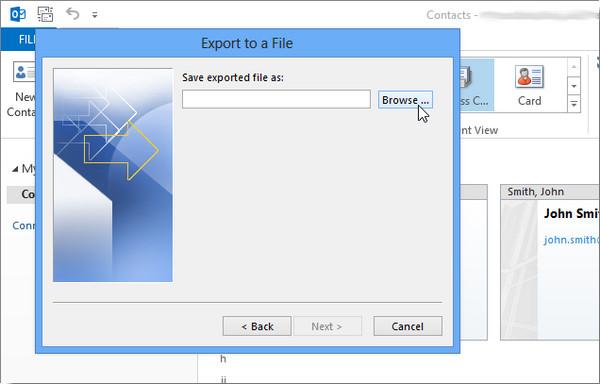 Exportar Outlook 2013 passo 7